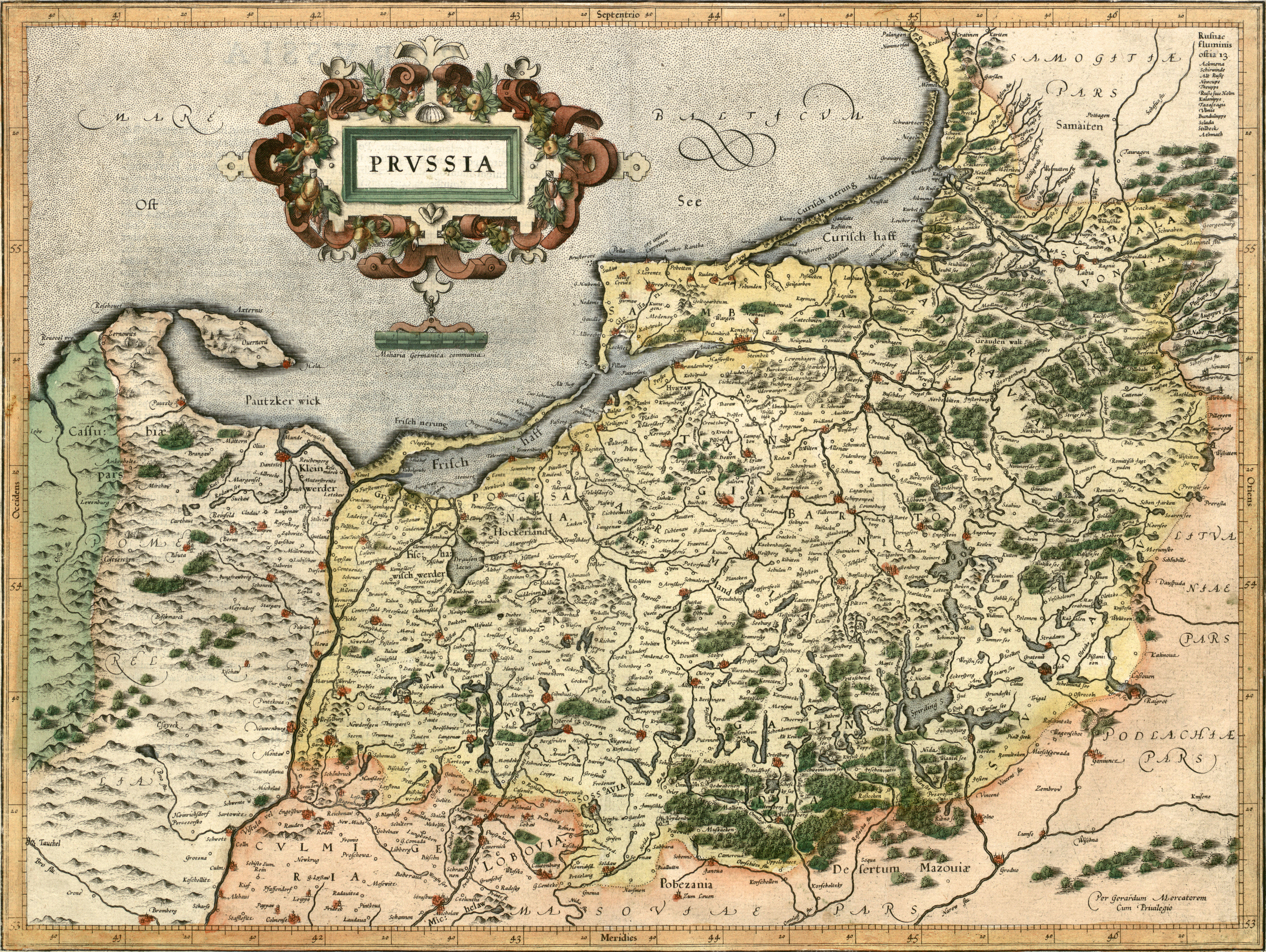 NICOLAUS COPERNICUS THORUNENSIS Prussia on a map by Gerard Mercator